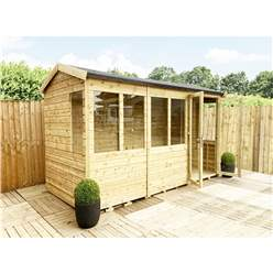 8ft x 10ft REVERSE Pressure Treated Tongue & Groove Apex Summerhouse + LONG WINDOWS with Higher Eaves and Ridge Height + Toughened Safety Glass + Euro Lock with Key + SUPER STRENGTH FRAMING