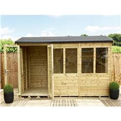 8ft x 11ft REVERSE Pressure Treated Tongue & Groove Apex Summerhouse + LONG WINDOWS with Higher Eaves and Ridge Height + Toughened Safety Glass + Euro Lock with Key + SUPER STRENGTH FRAMING