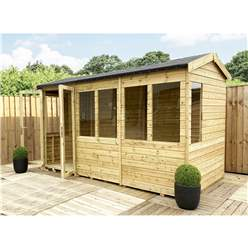 9ft x 6ft REVERSE Pressure Treated Tongue & Groove Apex Summerhouse + LONG WINDOWS with Higher Eaves and Ridge Height + Toughened Safety Glass + Euro Lock with Key + SUPER STRENGTH FRAMING