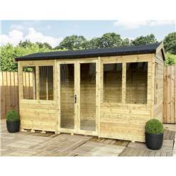 9ft x 8ft REVERSE Pressure Treated Tongue & Groove Apex Summerhouse + LONG WINDOWS with Higher Eaves and Ridge Height + Toughened Safety Glass + Euro Lock with Key + SUPER STRENGTH FRAMING