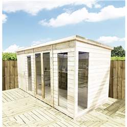 12ft x 8ft COMBI Pressure Treated Tongue & Groove Pent Summerhouse with Higher Eaves and Ridge Height + Side Summerhouse + Toughened Safety Glass + Euro Lock with Key + SUPER STRENGTH FRAMING