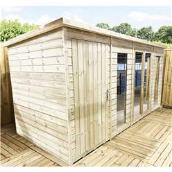 12ft x 6ft COMBI Pressure Treated Tongue & Groove Pent Summerhouse with Higher Eaves and Ridge Height + Side Summerhouse + Toughened Safety Glass + Euro Lock with Key + SUPER STRENGTH FRAMING