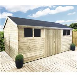 18FT x 13FT REVERSE PREMIER PRESSURE TREATED T&G APEX WORKSHOP + 6 WINDOWS + HIGHER EAVES & RIDGE HEIGHT + DOUBLE DOORS (12mm T&G Walls, Floor & Roof) + SAFETY TOUGHENED GLASS + SUPER STRENGTH FRAMING