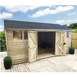 19FT x 13FT REVERSE PREMIER PRESSURE TREATED T&G APEX WORKSHOP + 6 WINDOWS + HIGHER EAVES & RIDGE HEIGHT + DOUBLE DOORS (12mm T&G Walls, Floor & Roof) + SAFETY TOUGHENED GLASS + SUPER STRENGTH FRAMING