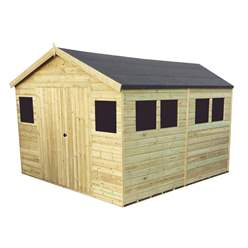 11FT x 11FT PREMIER PRESSURE TREATED T&G APEX WORKSHOP + 6 WINDOWS + HIGHER EAVES & RIDGE HEIGHT + DOUBLE DOORS (12mm T&G Walls, Floor & Roof) + SAFETY TOUGHENED GLASS + SUPER STRENGTH FRAMING