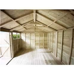 19FT x 11FT WINDOWLESS PREMIER PRESSURE TREATED TONGUE & GROOVE APEX WORKSHOP + HIGHER EAVES & RIDGE HEIGHT + DOUBLE DOORS (12mm Tongue & Groove Walls, Floor & Roof) + SUPER STRENGTH FRAMING