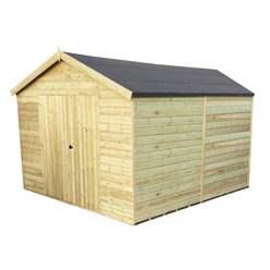 11FT x 13FT WINDOWLESS PREMIER PRESSURE TREATED TONGUE & GROOVE APEX WORKSHOP + HIGHER EAVES & RIDGE HEIGHT + DOUBLE DOORS (12mm Tongue & Groove Walls, Floor & Roof) + SUPER STRENGTH FRAMING