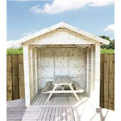 8ft x 7ft Premium Outside Dining Shelter / Smoking Shelter - Pressure Treated Tongue and Groove Apex - Includes 6ft Picnic Bench