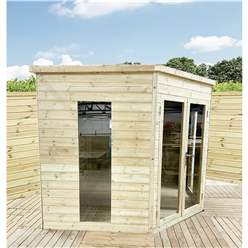 8ft x 8ft Corner Pressure Treated T&G Pent Summerhouse + Safety Toughened Glass + Euro Lock with Key + SUPER STRENGTH FRAMING