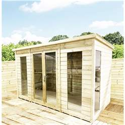 13ft x 8ft PENT Pressure Treated Tongue & Groove Pent Summerhouse with Higher Eaves and Ridge Height Toughened Safety Glass + Euro Lock with Key + SUPER STRENGTH FRAMING