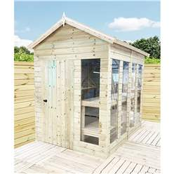 10ft x 9ft Pressure Treated Tongue And Groove Apex Summerhouse - Potting Summerhouse - Bench + Safety Toughened Glass + Euro Lock with Key + SUPER STRENGTH FRAMING
