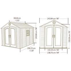 OOS - BACK NOVEMBER 2021 - 8ft x 10ft Life Plus Plastic Apex Shed With Plastic Floor + 1 Window (2.43m x 3.05m)