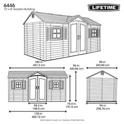 OOS - BACK NOVEMBER 2021 - 15ft x 8ft Life Plus Single Entrance Plastic Apex Shed With Plastic Floor + 2 Windows (4.57m X 2.43m)