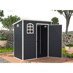 6ft x 3ft Plastic Pent Shed - Dark Grey with Foundation Kit (included)