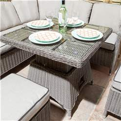 6 Seater Natural Stone Compact Rattan Weave Corner Dining Set - With Stools