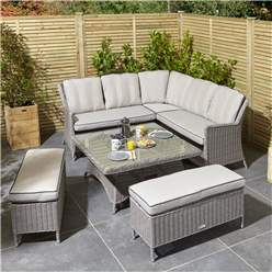 6 Seater Natural Stone Rattan Weave Corner Dining Set - With Benches