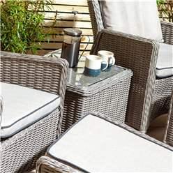 2 Seater Natural Stone Rattan Weave Garden Reclining Lounger Set