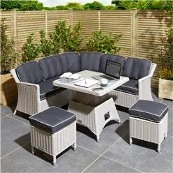 6 Seater Putty Grey Compact Rattan Weave Corner Dining Set - With Stools