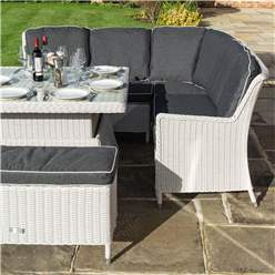 6 Seater Putty Grey Rattan Weave Corner Dining Set - With Benches