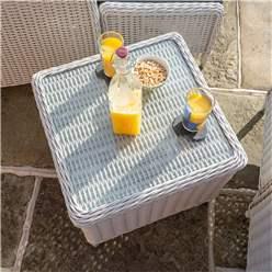 2 Seater Putty Grey Rattan Weave Garden Reclining Lounger Set