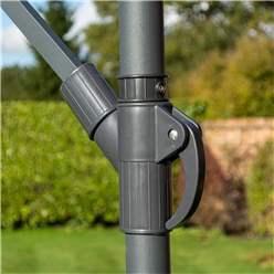 Powder-coated Steel Frame Adjustable Rectangle Overhang Parasol