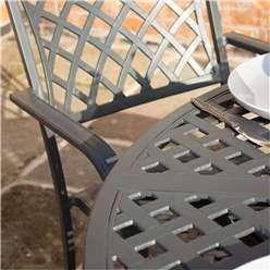 4 Seater Gunmetal Grey Powder-Coated Aluminium Garden Dining Set