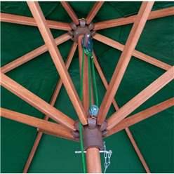 2.7m Green Wooden Parasol