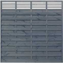 6 x 6 Trellis Top Fence Panel Painted Grey - Minimum Order of 3 Panels