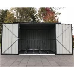 OOS - BACK OCTOBER 2021 - 6ft x 6ft Premier EasyFix – Pent – Metal Bike Store -Anthracite Grey (2.11m x 2.00m)