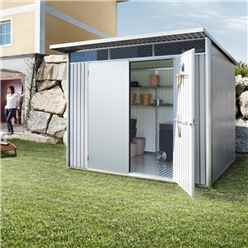8ft x 7ft Large Metallic Silver Heavy Duty Metal Shed With Double Doors (2.6m x 2.2m)