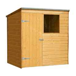 INSTALLED 6ft x 4ft (1.24m x 1.8m)  Wooden Shiplap Pent Shed With Single Door and 1 Window - INSTALLATION INCLUDED