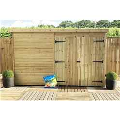 10FT x 3FT Windowless Pressure Treated Tongue & Groove Pent Shed + Double Doors