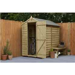 INSTALLED 6ft x 4ft (1.8m x 1.31m) Pressure Treated Windowless Overlap Apex Shed with Single Door - Modular - INSTALLATION INCLUDED