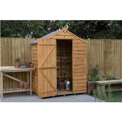 INSTALLED 3ft x 5ft (0.9m x 1.6m) Windowless Overlap Apex Shed With Single Door - Modular - INSTALLATION INCLUDED - *Door is on the 5ft Side