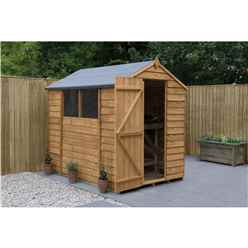 INSTALLED 7ft x 5ft (2.1m x 1.5m) Overlap Apex Shed With Single Door and 2 Windows - Modular - INSTALLATION INCLUDED