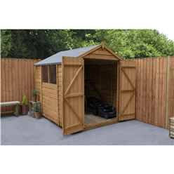 INSTALLED 8ft x 6ft (2.4m x 1.9m) Overlap Apex Wooden Garden Shed With Double Doors and 2 Windows - Modular - INSTALLATION INCLUDED