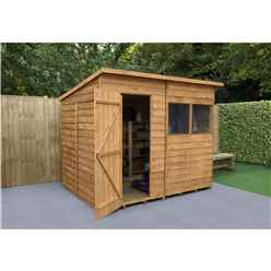 8ft x 6ft (2.4m x 1.9m) Dip Treated Overlap Pent Shed With Single Door and 2 Windows - Modular - CORE