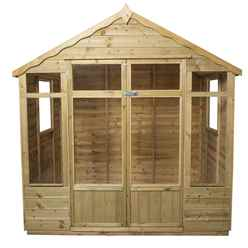 INSTALLED 7ft x 5ft Oakley Pressure Treated Overlap Summerhouse (219cm x 146cm) - INSTALLATION INCLUDED (CORE)