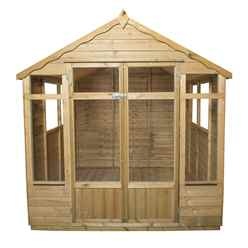 INSTALLED 7ft x 7ft Oakley Pressure Treated Overlap Summerhouse (219cm x 207cm) - INSTALLATION INCLUDED
