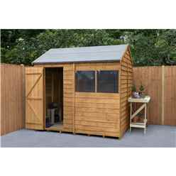 6ft x 8ft (1.9m x 2.4m) Reverse Apex Dip Treated Overlap Shed With Single Door and 1 Window - Modular - CORE