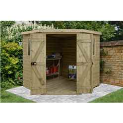 INSTALLED 7ft x 7ft (2.96m x 2.30m) Tongue & Groove Pressure Treated Corner Shed With Double Doors and 2 Windows - INSTALLATION INCLUDED - CORE (BS)
