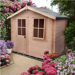 INSTALLED -  2.7m x 2.7m Premier Log Cabin With Half Glazed Single Door With Opening Window + Free Floor & Felt (19mm) INSTALLATION INCLUDED