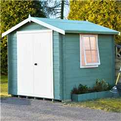 INSTALLED - 2.4m x 2.4m Premier Apex Log Cabin With Double Doors + Side Window + Free Floor & Felt (19mm) INSTALLATION INCLUDED