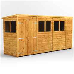 14ft x 4ft Premium Tongue and Groove Pent Shed - Double Doors - 6 Windows - 12mm Tongue and Groove Floor and Roof