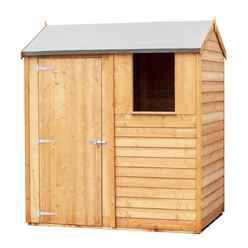 ** IN STOCK LIVE BOOKING ** ** FLASH REDUCTION** 6ft x 4ft (1.83m x 1.20m) - Reverse - Super Value Overlap - Apex Wooden Garden Shed - 1 Window - Single Door - 8mm Solid OSB Floor - CORE