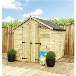 8FT x 6FT **Flash Reduction** Super Saver Windowless Pressure Treated Tongue & Groove Apex Shed + Double Doors + Low Eaves