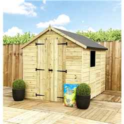 3FT x 6FT **Flash Reduction** Super Saver Pressure Treated Tongue & Groove Apex Shed + Double Doors + Low Eaves + 1 Window