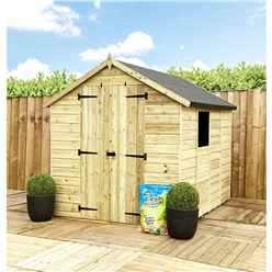 7FT x 4FT **Flash Reduction** Super Saver Pressure Treated Tongue & Groove Apex Shed + Double Doors + Low Eaves + 1 Window