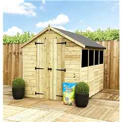 11FT x 4FT **Flash Reduction** Super Saver Pressure Treated Tongue & Groove Apex Shed + Double Doors + Low Eaves + 3 Windows