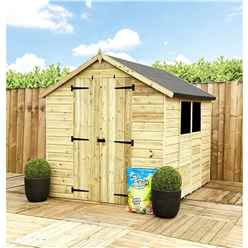 8FT x 8FT **Flash Reduction** Super Saver Pressure Treated Tongue & Groove Apex Shed + Double Doors + Low Eaves + 2 Windows